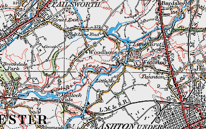 Old map of Woodhouses in 1924