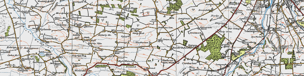 Old map of Woodhouses in 1925