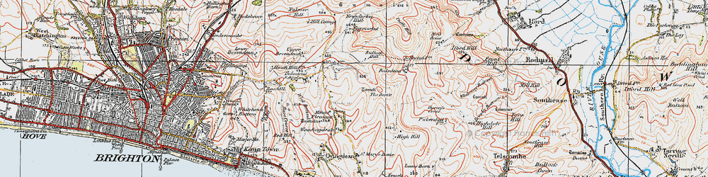 Old map of Woodingdean in 1920