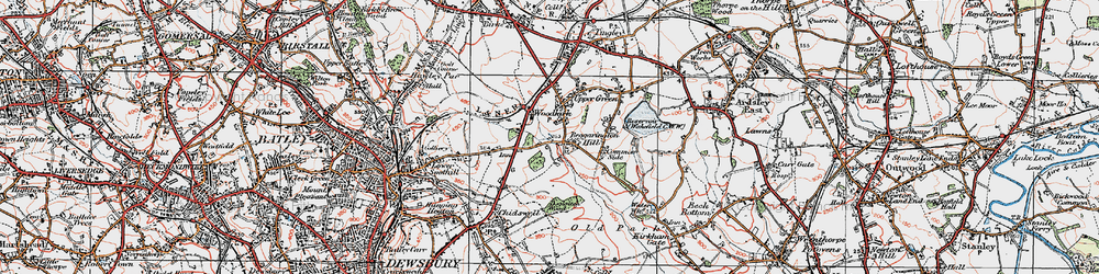 Old map of Woodkirk in 1925
