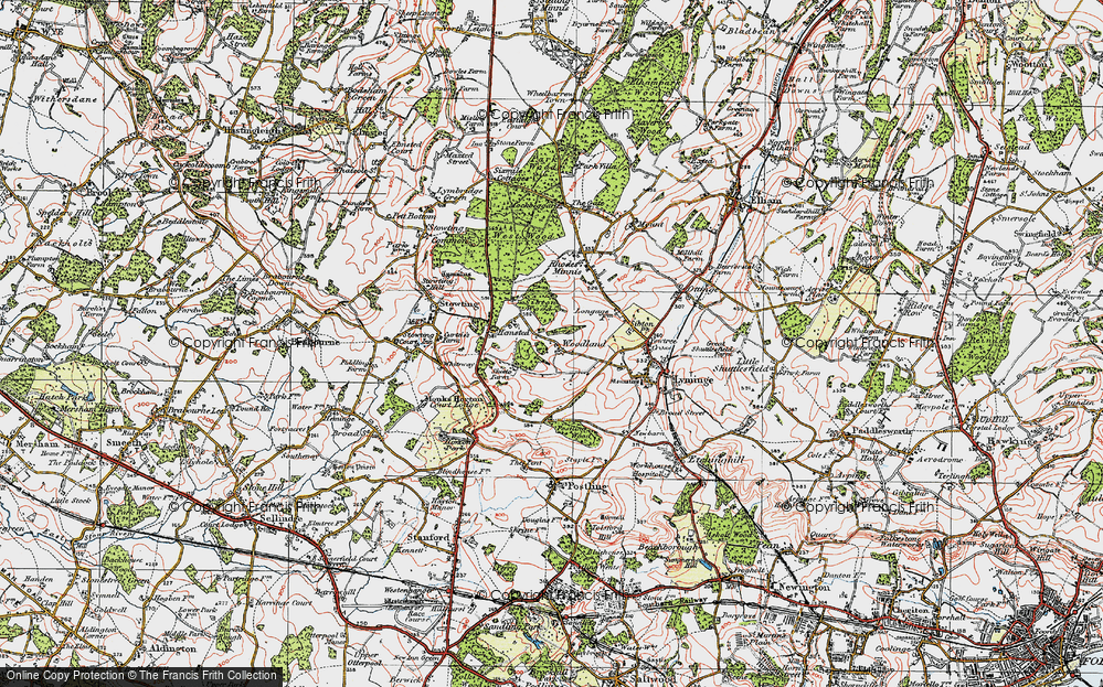 Old Map of Woodland, 1920 in 1920