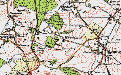 Old map of Woodland in 1920