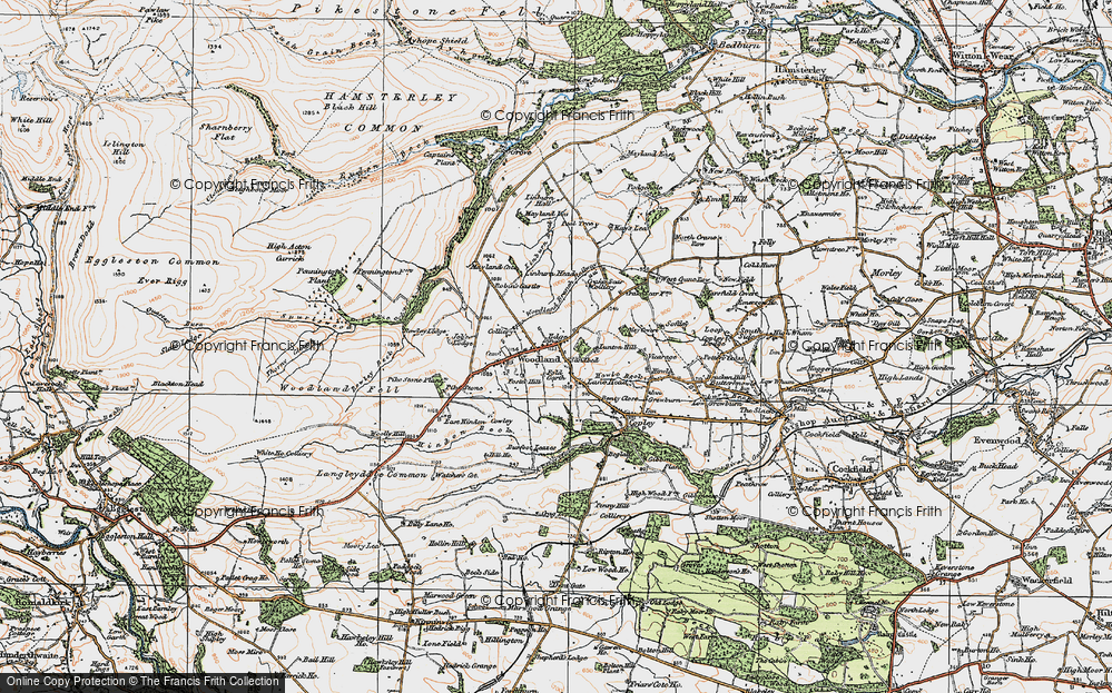 Old Map of Woodland, 1925 in 1925