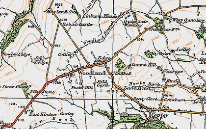 Old map of Woodland in 1925