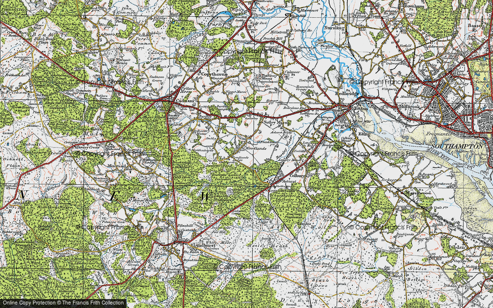 Old Map of Historic Map covering Woodlands Lodge (Hotel) in 1919