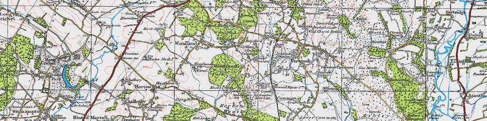 Old map of Woodlands Common in 1919