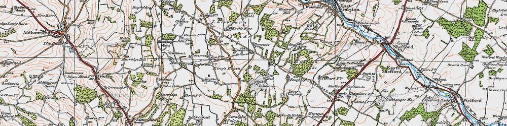 Old map of Woodlands St Mary in 1919