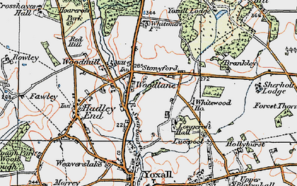 Old map of Whitewood in 1921