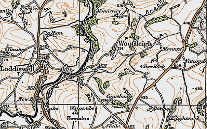 Old map of Woodleigh in 1919