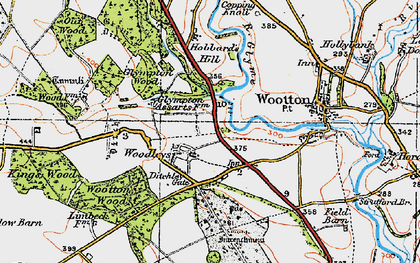 Old map of Wootton Wood in 1919