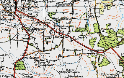 Old map of Woodmancote Place in 1920