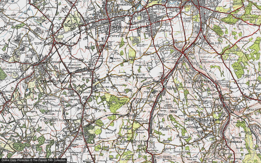 Old Map of Woodmansterne, 1920 in 1920