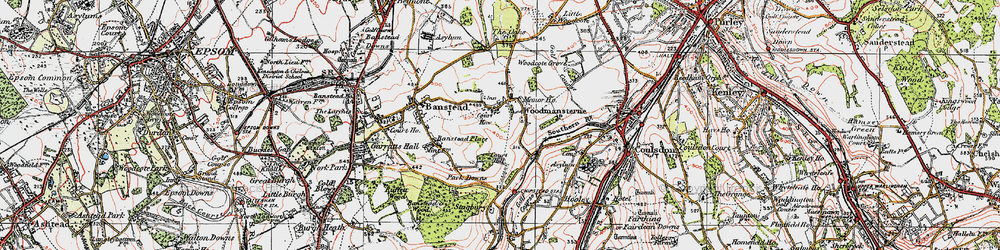Old map of Woodmansterne in 1920