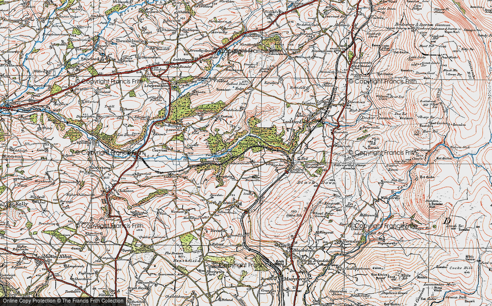 Old Map of Historic Map covering Langstone Manor in 1919