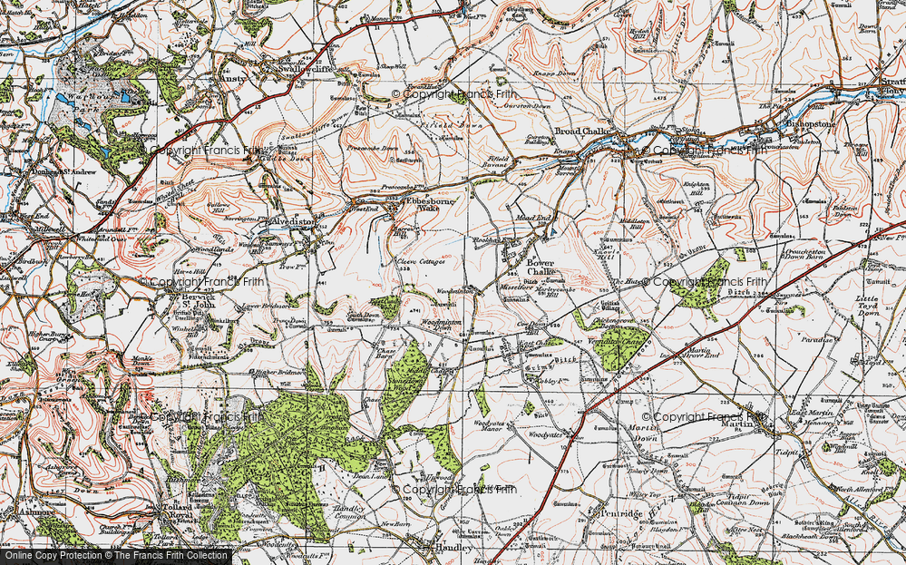 Old Map of Historic Map covering Woodminton Down in 1919