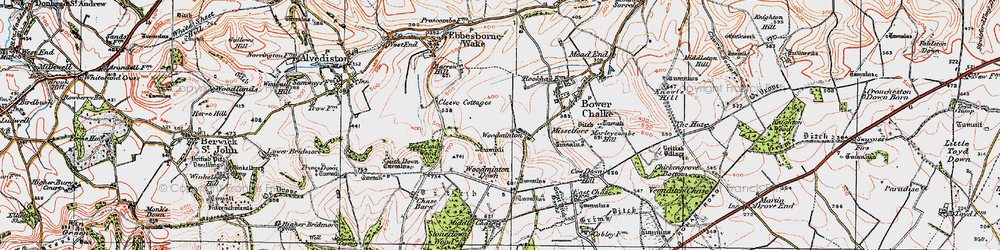 Old map of Woodminton in 1919