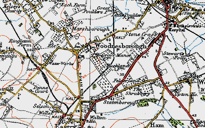 Old map of Woodnesborough in 1920