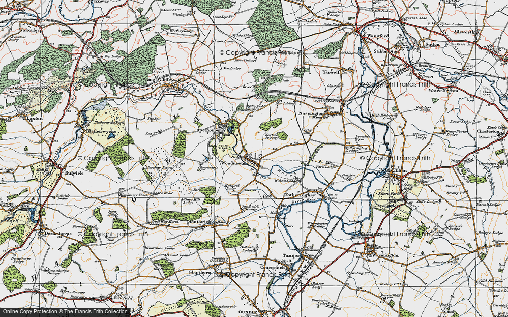 Old Map of Woodnewton, 1922 in 1922