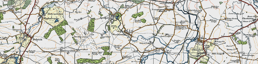 Old map of Woodnewton in 1922