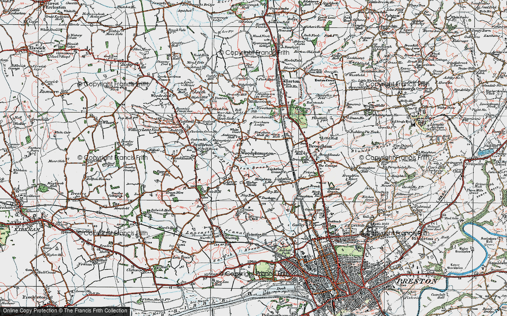Old Map of Historic Map covering Woodplumpton Brook in 1924