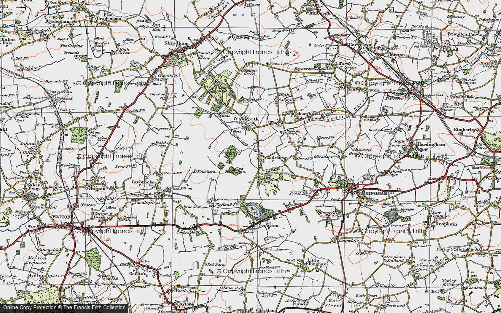 Old Map of Woodrising, 1921 in 1921