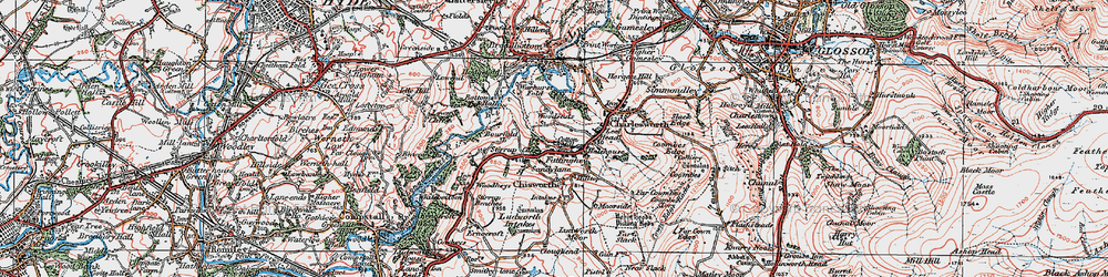Old map of Woodseats in 1923