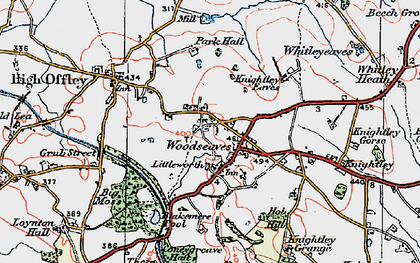 Old map of Woodseaves in 1921
