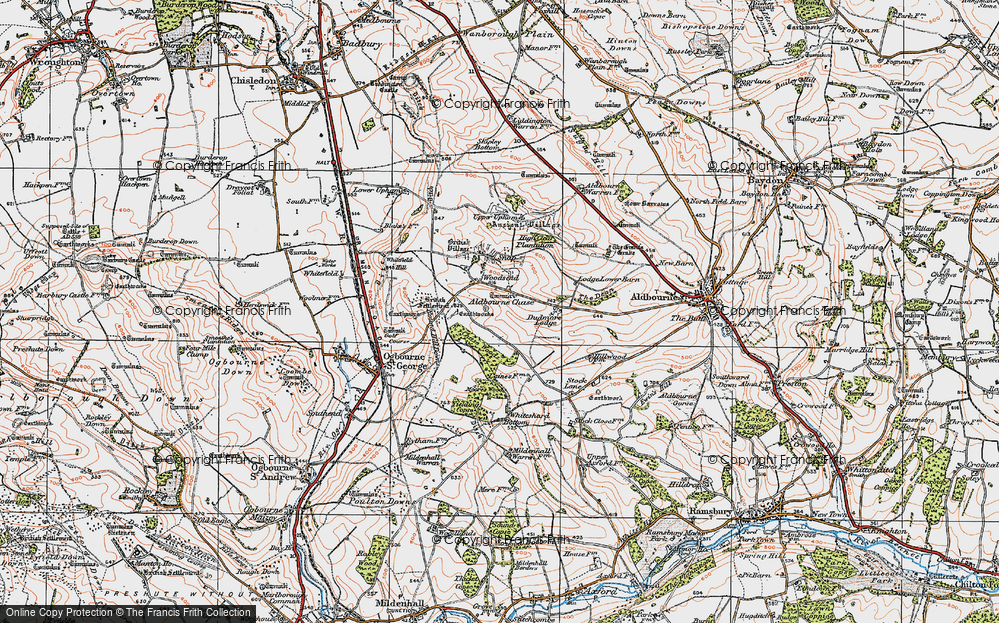 Old Map of Historic Map covering Aldbourne Chase in 1919