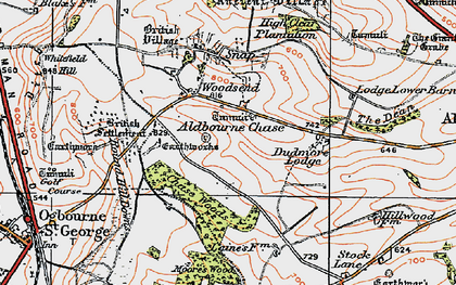 Old map of Aldbourne Chase in 1919
