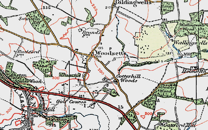 Old map of Woodsetts in 1923