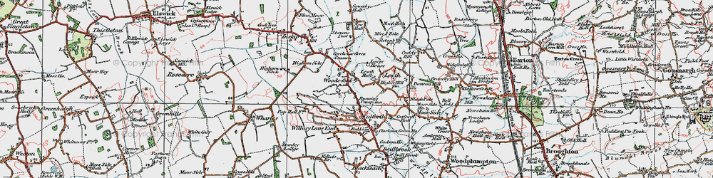 Old map of Woodsfold in 1924