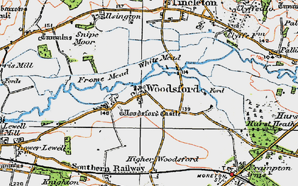 Old map of Woodsford in 1919