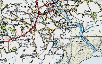Old map of Woodside in 1919