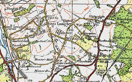 Old map of Woodside in 1920