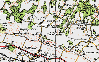 Old map of Woodside Green in 1921