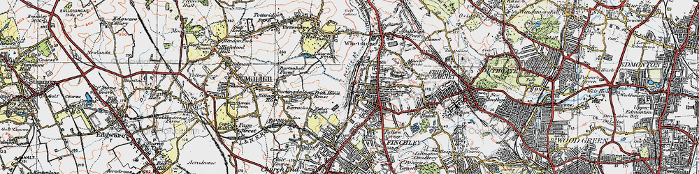 Old map of Woodside Park in 1920