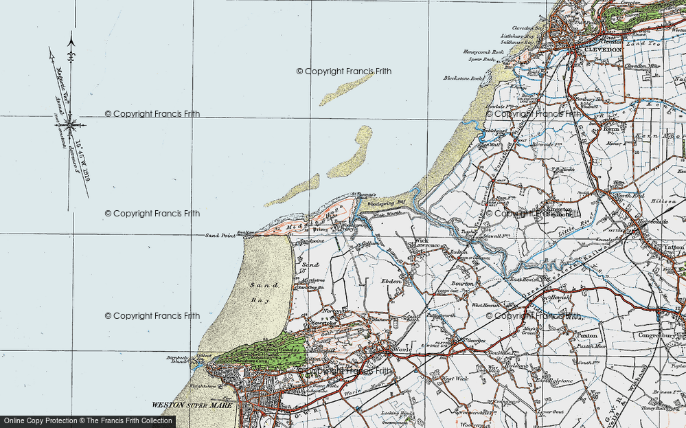 Old Map of Historic Map covering Langford Grounds in 1919