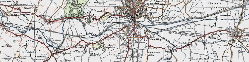 Old map of Woodston in 1922