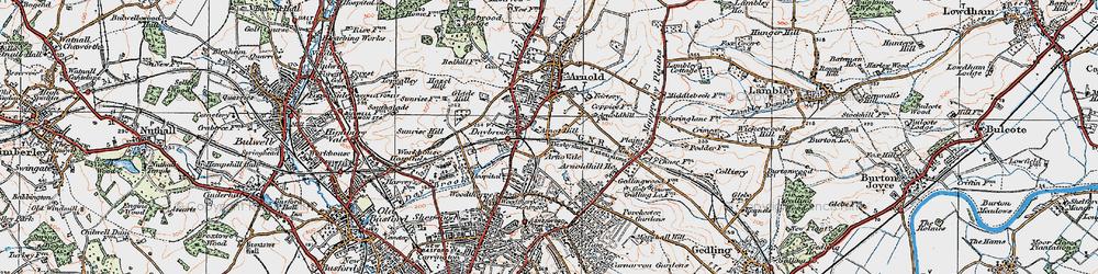 Old map of Woodthorpe in 1921