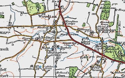 Old map of Woodton Lodge in 1921