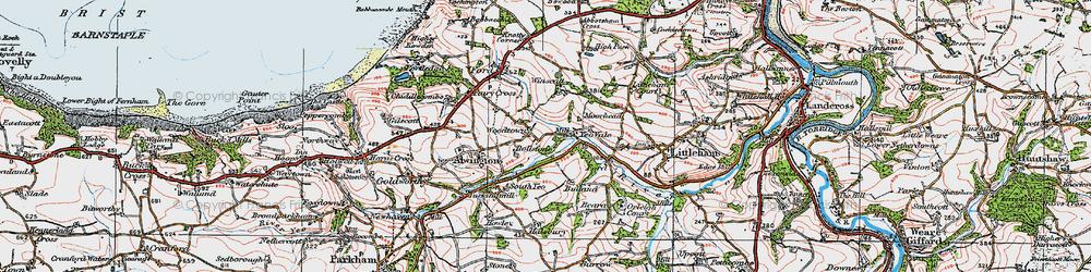 Old map of Winscott Barton in 1919