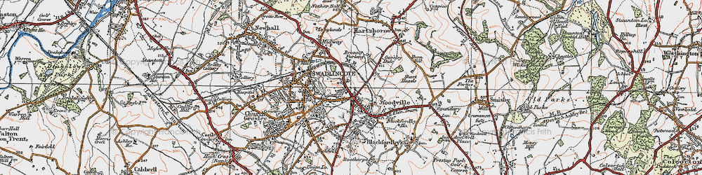 Old map of Woodville in 1921