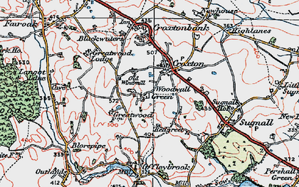 Old map of Woodwall Green in 1921