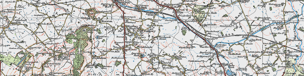 Old map of Woodworth Green in 1923