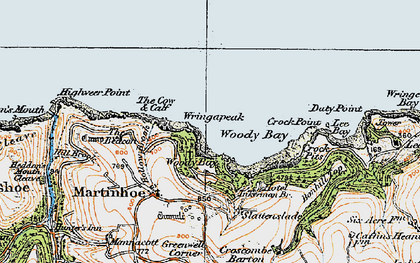 Old map of Woody Bay in 1919