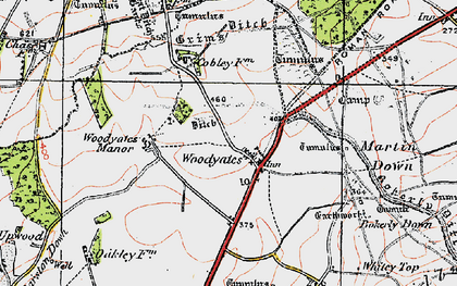 Old map of West Woodyates Manor in 1919