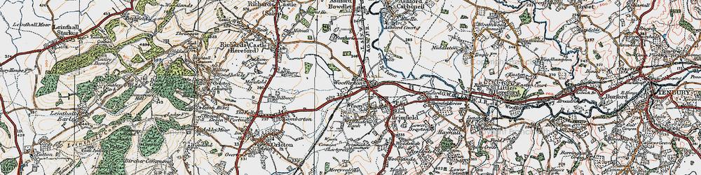 Old map of Woofferton in 1920