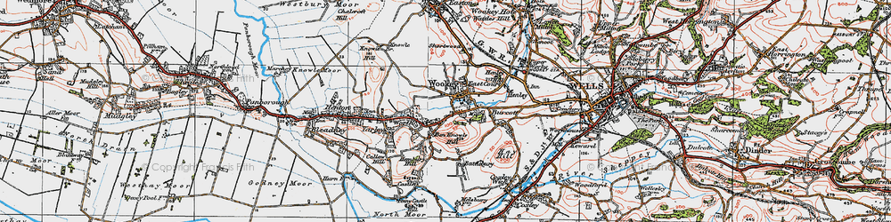 Old map of Wookey in 1919