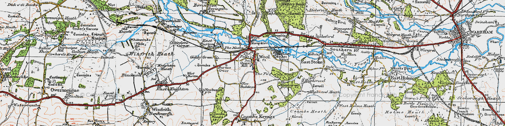 Old map of Wool in 1919