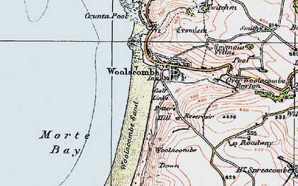 Old map of Woolacombe Down in 1919